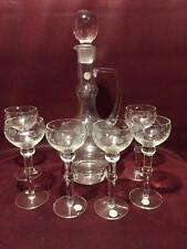 STUNNING ROMANIAN CRYSTAL ETCHED DECANTER WITH SIX APERITIF OR SHOT GLASSES