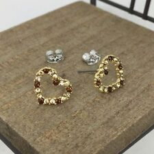 Heart Crystal Titanium Post Stud Earrings US Seller Made in Korea