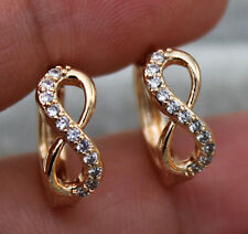 "18K Gold Filled- Hollow ""8"" Design Topaz Zircon Cocktail Gemstone Women Earrings"