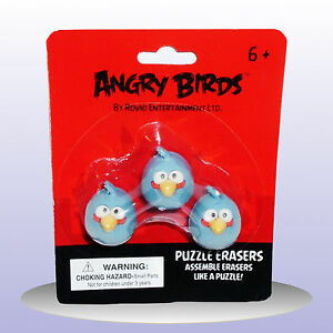 Angry Birds Puzzle Erasers - 3 X Blue Birds - Novelty Stationary Rubbers - NEW
