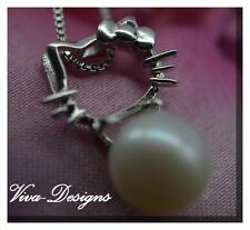 925 Sterling Silver 'Cute Kitty' Pendant with Freshwater Pearl and chain