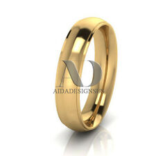 Solid 10K Gold Plain Dome Step Comfort Fit Wedding Band Ring Mens Womens 5mm