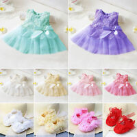 Infant Baby Girls Toddler Party Princess Lace Tutu Bow Flower Dress /Grib Shoes