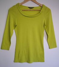 Jacqui E Women's Yellow-Green 3/4 Sleeve Top with Bow - Size XS