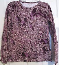 St John's Bay Purple Paisley Print Long Sleeve Top Sz Medium M EUC  Womens