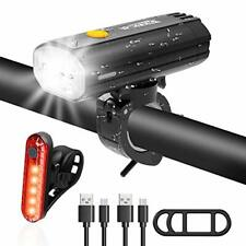 WOTEK Bike Light Set, Super Bright USB Rechargeable Bicycle Lights, Waterproof