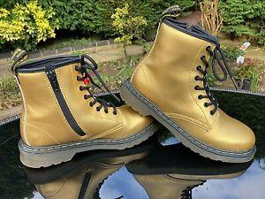 Dr Martens 1460 Delaney junior gold leather boots with side zip UK 2 EU 34 US 3
