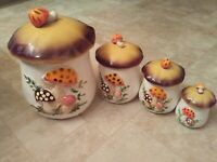 4 VINTAGE Sears Merry Mushroom Canister Set W/LIDS  EXCELLENT CONDITION