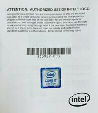 Intel Core i7 7th Gen Logo Label ONLY with booklet (New)