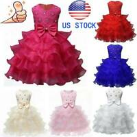 Kids Baby Girl Princess Bow Tutu Dress Wedding Bridesmaid Pageant Party Dresses