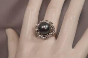 Big Beautiful Lustrous South Seas Pearl 14mm 18K Gold & 40 Diamonds Signed Ring