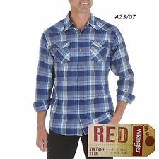 WRANGLER NEW Blue Plaid Long Sleeve Snap Button Slim Western Shirt Big 2XL QCO