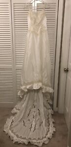 Alfred Angelo Vintage Wedding Dress Applique Beaded Iridescent Size 3