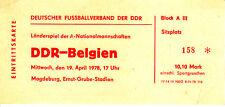 Ticket DDR - Belgien 19.04.78 in Magdeburg Deutschland