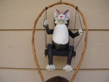 Painted Black and White Kitty Cat on a Swing Bamboo Wind Chimes Free Ship