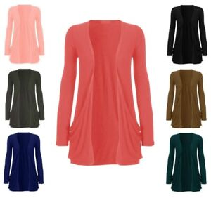 New Ladies Pocket Long Sleeve Cardigan Womens Top Size 6 8 10 12 14 16 18 *Crdig