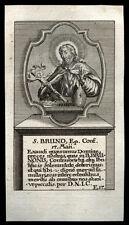 santino incisione 1700 S.BRUNO V. DI WÜRZBURG