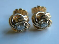 ESTATE KNOT EARRINGS WITH DIAMONDS 14K SOLID YELLOW GOLD EXCELLENT CONDITION