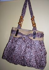 Animal print summer tote bag beige brown pretty bow wooden beads on handles BNWT