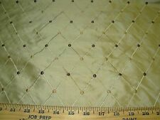 "~8 4/8 YDS~100% SILK~""DIAMOND W DOTS""~EMBROIDERED~UPHOLSTERY FABRIC FOR LESS~"