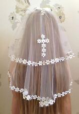 Girls White Communion Veil Accessory  Holy Communion Confirmation Diamantes