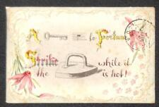 REBUS PUZZLE KEY IRON MUSIC FLOWERS ILLINOIS POSTCARD 1909