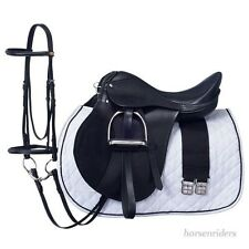 17 Inch All Purpose English Saddle Package - Black - All Leather -Free Shipping