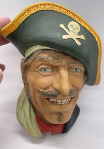 Vintage Bossons England Captain Kidd Pirate Chalkware Head Wall Hanging