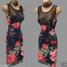 Rare Karen Millen Vintage Floral Satin Mesh Cocktail Summer Wiggle Dress 12 UK