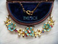 ART DECO VINTAGE ENAMEL FLOWERS Aurora Borealis Crystal Faux Pearl NECKLACE Gift