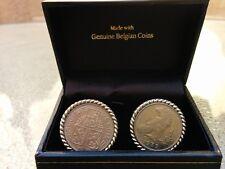 NIB Genuine vintage Belgian coin Franc cufflinks in gift box