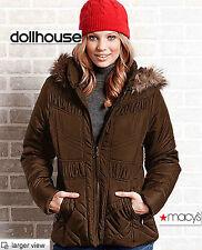 NWT GREAT Dollhouse M MEDIUM WOMEN BROWN Coat, Faux-Fur HooDY Puffer JACKET