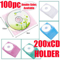 100pc CD DVD DISC Clear Cover Storage Case Bag Plastic Sleeve Wallet Holder Pack