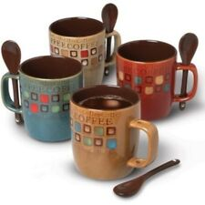 UNIQUE 4 Ceramic Tea Cup Coffee Mugs set Stoneware with spoons Xmas Gift for Her