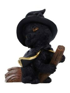 Nemesis Ornament Tabitha Cat and Broomstick Figurine Black 10x14cm