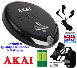 Akai CD Discman A61007 CD Player, Earphones, Electric Adapter, Batteries. New UK