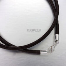 """13"""" Sterling Silver 3mm Black Genuine Leather Round Cord Necklace, Lobster Clasp"""