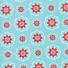 Caravan Roundup~RED BLOSSOM ON AQUA~BY 1/2 YD~MODA~11641-17~MARY JANE BUTTERS
