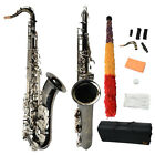New Top Grade Professional Black Brass Tenor Sax Saxophone with Silver Buttons