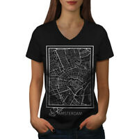 Wellcoda Holland Amsterdam Womens V-Neck T-shirt, Netherlands Graphic Design Tee
