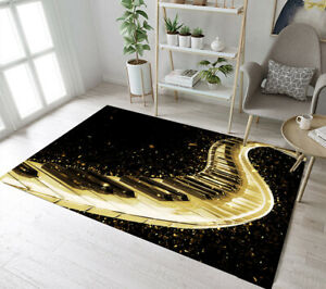 Creative Piano Key Gold Confetti Area Rugs Bedroom Carpet Living Room Floor Mat