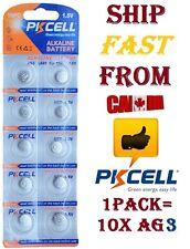 10X PKCELL Alkaline Battery AG3 LR41 GP192 V3GA SR41 192 392 Batterie pile cell