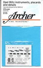 Archer Opel Blitz Instruments, Placards, Details Dry Transfers 1/35  AR35 291 ST