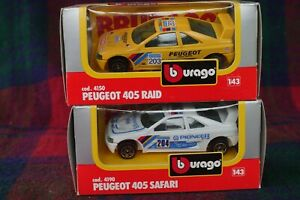 2x Bburago 1/43 Peugeot 405 Raid 1988 & 405 Safari 1989 Paris-Dakar (MIMB)