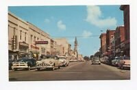 Postcard - Valdosta GA Downtown Patterson St 1950s Firestone Sears Old cars