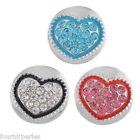 15 Mixte Boutons Pression Click Strass Coeur Pr Bracelet Personnalisé 19mm