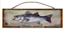 Striped Bass Rustic Wall Sign Plaque Gifts Men Fishing Fishermen Outdoors Fish