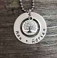 personalised hand stamped stainless steel 32mm washer necklace with tree of life