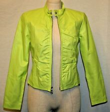 WILSON LEATHER MAXIMA COAT LONG SLEEVE ZIP UP CROPPED JACKET LIME S