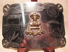 WOW AMAZING HUGE Hand Made Cowboy with Six Shooters Gun Belt Buckle Make Offer